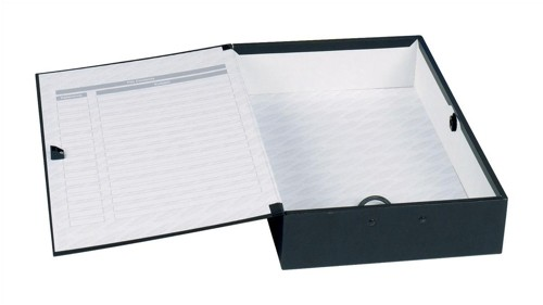 Concord Classic Box File Paper-lock Finger-pull and Catch 75mm Spine Foolscap Black Ref C1282 [Pack 5]