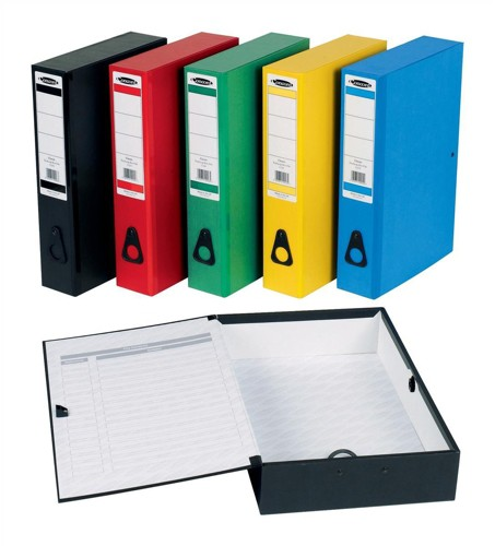 Concord Classic Box File Paper-lock Finger-pull and Catch 75mm Spine Foolscap Assorted Ref C1289 [Pack 5]