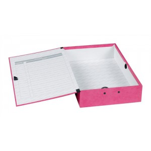 Concord Contrast Box File Laminated Paper-lock 75mm Spine Foolscap Raspberry Ref 13483 [Pack 5]
