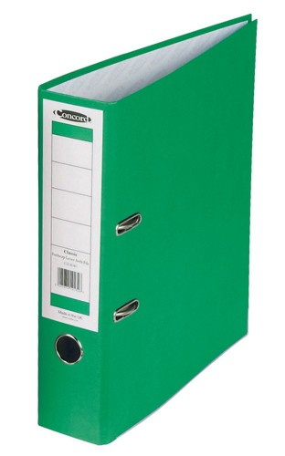 Concord Classic Lever Arch File Printed Lining Capacity 70mm Foolscap Green Ref C216052 [Pack 10]