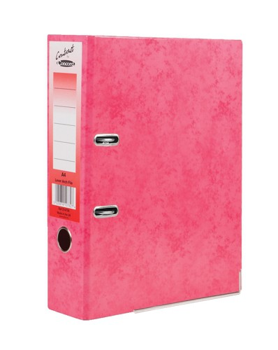 Concord Contrast Lever Arch File Laminated Capacity 65mm A4 Raspberry Ref 214708 [Pack 10]