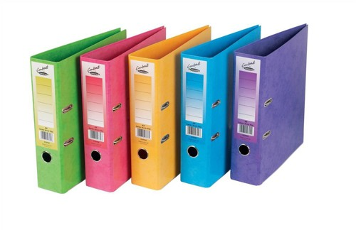 Concord Contrast Lever Arch File Laminated Capacity 65mm A4 Assorted Ref 214710 [Pack 10]