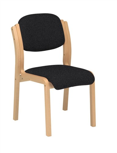 Trexus Side Chair Wood Upholstered Stackable Seat W405xD500xH480mm Charcoal
