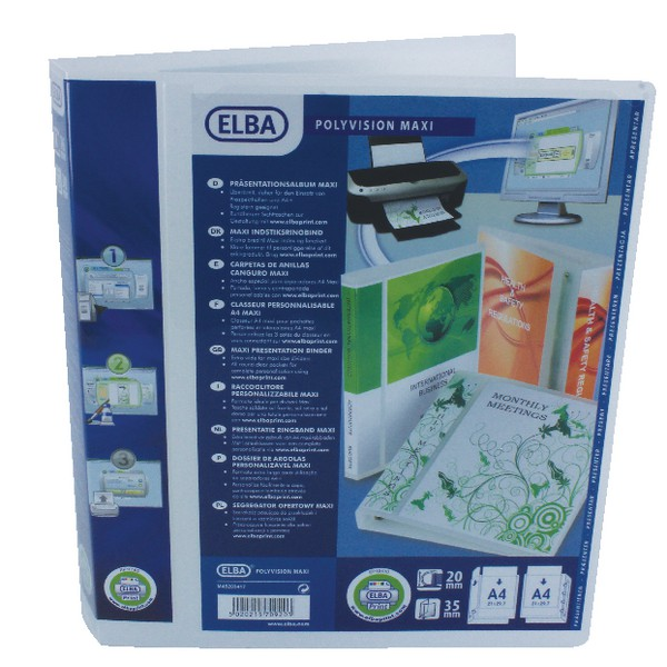 Elba Polyvision Maxi Presentation Binder Polypropylene 4 D-Ring 20mm Clear A4 Ref 100080796 [Pack 10]