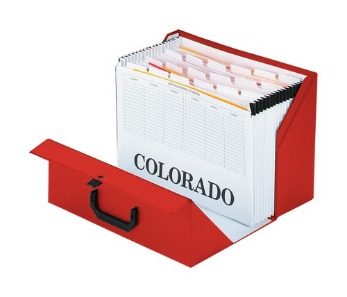 Rexel Colorado Expanding Box File A-Z Foolscap Red Ref 31718EAST