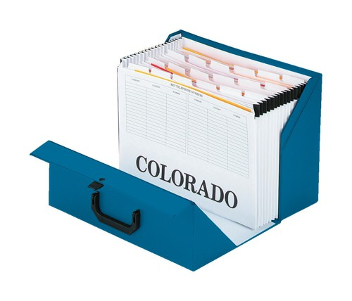 Rexel Colorado Expanding Box File A-Z Foolscap Blue Ref 31713EAST