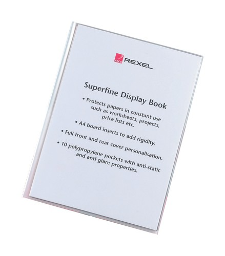 Rexel Superfine Display Book with Index Sheet 10 Pockets A4 Clear Ref 10510 [Pack 15]