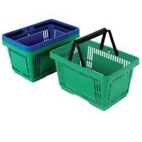 Green Plastic Shopping Basket Pk12
