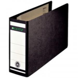 Leitz Board Lever Arch File Oblong Landscape 77mm Spine A5 Black Ref 1076-00-95 [Pack 5]