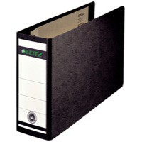 Leitz Board Lever Arch File Oblong Landscape 77mm Spine A5 Black Ref 1076-00-95 [Pack 5]