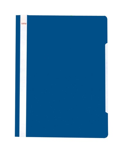 Leitz Standard Data Files Semi-rigid PVC Clear Front 20mm Title Strip A4 Blue Ref 4191-00-35 [Pack 25]