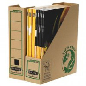 R-Kive Earth Magazine File Recycled FSC Self-assembly A4 Plus Ref 4470007 [Pack 20]