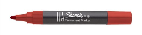 Sharpie M15 Permanent Marker Bullet Tip 1.8mm Line Red Ref S0192605 [Pack 12]