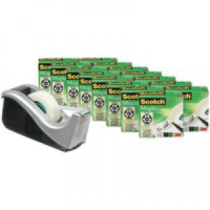 Scotch Magic Tape 810 Roll 19mmx33m Matt Ref 8-1933R16C60 [Pack 16 and C60 Dispenser]
