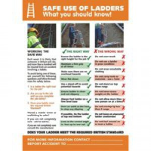 Stewart Superior Safe Use of Ladders Laminated Guidance Poster W420xH595mm Ref HS109