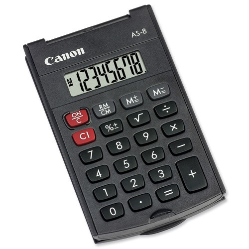 Canon Pocket Calculator 8-digit Black AS-8 4598B001AA