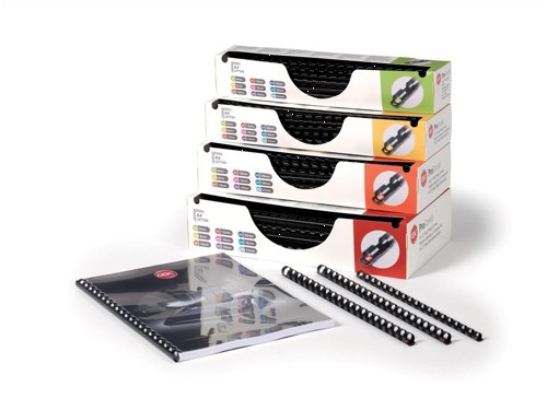 GBC Pro Binding Combs Plastic 10mm for 65 Sheets of A4 Black Ref 4400323 [Pack 100]