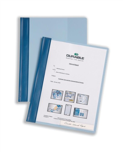 Durable Management Flat File Plastic Clear Front A4 Plus Blue Ref 2510/06 [Pack 25]