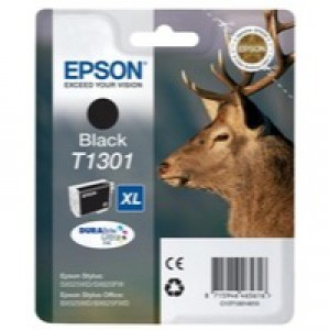 Epson T1301 Inkjet Cartridge DURABrite Stag XL Capacity 25.4ml Black Ref C13T13014010