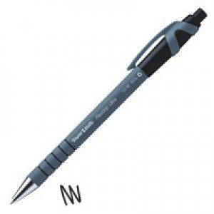 Paper Mate Flexgrip Retractable Ball Pen Medium 1.0mm Tip 0.4mm Line Black Ref S0190393 [Pack 12]