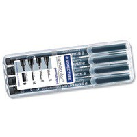Staedtler Lumocolor Permanent Marker Nibs Bullet 0.4/0.6/1.0mm Chisel 1.0-2.5mm Ref 31-9 WP4GS [Pack 4]