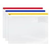 Image for INDX Zip Pouch Heavy-duty PVC Clear with Coloured Seal A3 Assorted Ref 4713 [Pack 5]