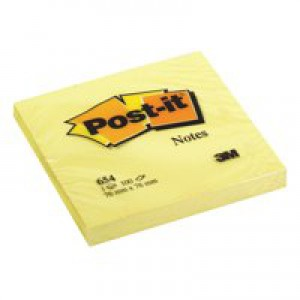 Post-it Recycled Notes Pad of 100 76x76mm Canary Yellow Ref 654-1YE [Pack 12]