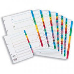 Concord Index Multicolour-tabbed Mylar-Reinforced 4 Holes 1-15 A4 White Ref CS16