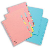 Concord Subject Dividers 230 Micron Reinforced 5-Part A4 Assorted Ref 77099/70
