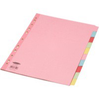 Concord Subject Dividers 230 Micron Reinforced 10-Part A4 Assorted Ref 77199/71