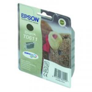 Epson T0611 Inkjet Cartridge Teddybear Page Life 250pp Black Ref C13T06114010