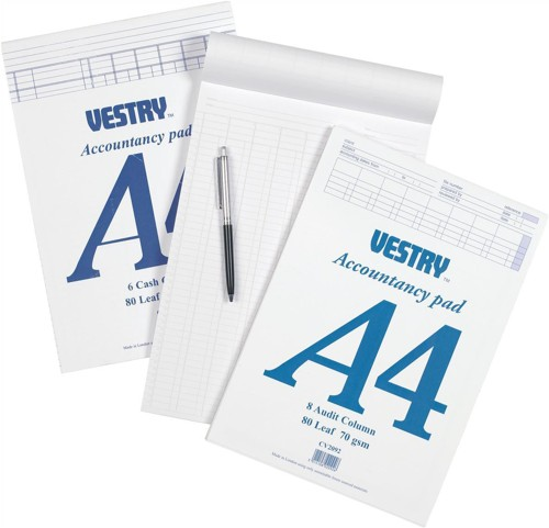 Vestry Accountants Pad 6 Cash Column 80 Leaf A4 Ref CV2085