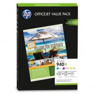 Hewlett Packard [HP] No. 940XL Brochure Pack Inkjet Cartridge + Paper A4 100 Sheet 3 Colour Ref CG898AE