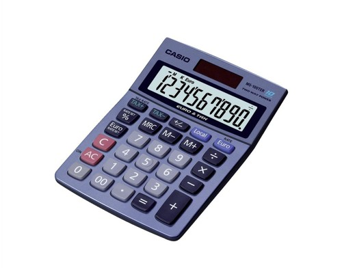 Casio MS100TER Desktop Calculator Battery/Solar Power 10 Digit Tax Key Ref MS100TER