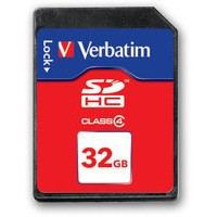 Verbatim SDHC Media Memory Card SD 2.0 FAT32 Class 4 Read 6MB/s Write 6MB/s 32GB Ref 44022