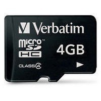 Verbatim Micro Secure Digital Memory Card High Capacity 4Gb Class 4 with Adaptor 47203