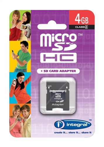 Integral Micro SDHC Media Memory Card with SD Adaptor Capacity 4GB Ref INMSDH4G4V2