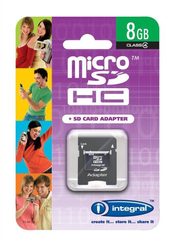Integral Micro SDHC Media Memory Card with SD Adaptor Capacity 8GB Ref INMSDH8G4V2