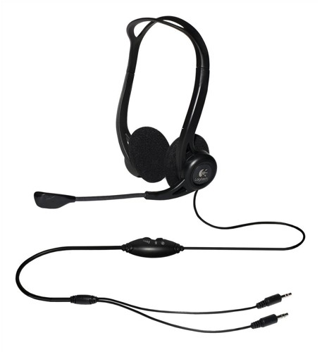 Logitech PC860 Stereo Headset Adjustable Microphone Boom 3.5mm Audio Jack In-line Controls Ref 981-000094