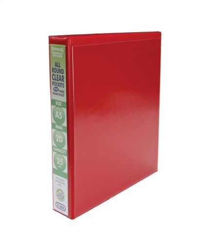 Elba Presentation Ring Binder PVC 2 D-Ring 25mm Capacity A5 Red Ref 400008670 [Pack 6]