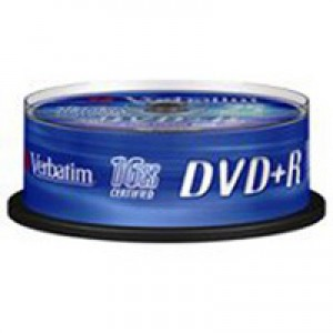 Verbatim DVD+R 16X 4.7Gb Spindle Pack of 25 43500