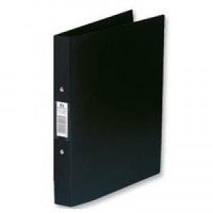 Rexel Budget Ring Binder Semi-rigid Polypropylene 2 O-Ring 25mm Size A4 Black Code 13422BK
