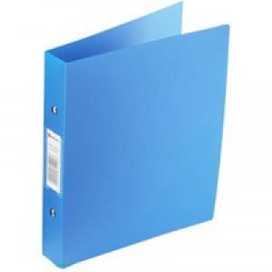 Rexel Budget Ring Binder Semi-rigid Polypropylene 2 O-Ring 25mm Size A4 Blue Code 13422BU