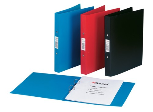 Rexel Budget Ring Binder Semi-rigid Polypropylene 2 O-Ring 25mm Size A4 Red Ref 13422RD [Pack 10]