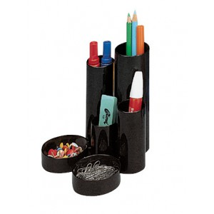 Desk Tidy 5 Tube Holders 2 Shallow Trays Black