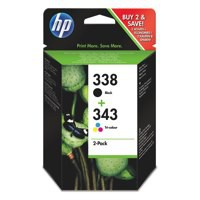 Hewlett Packard [HP] No.338 & 343 Inkjet Cartridge Page Life 480/330pp Black/Colour Ref SD449EE [Pack 2]