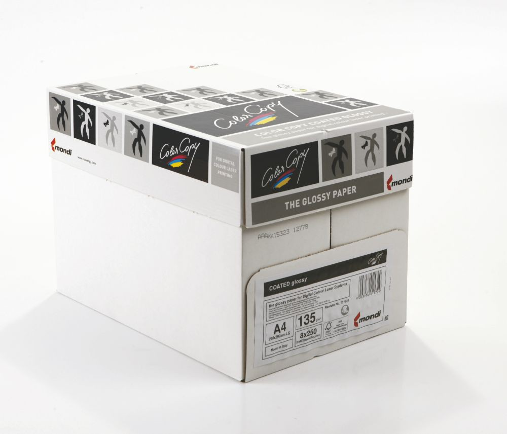 Color Copy Paper Coated Glossy White A4 210 x 297mm 135gm Pack 250