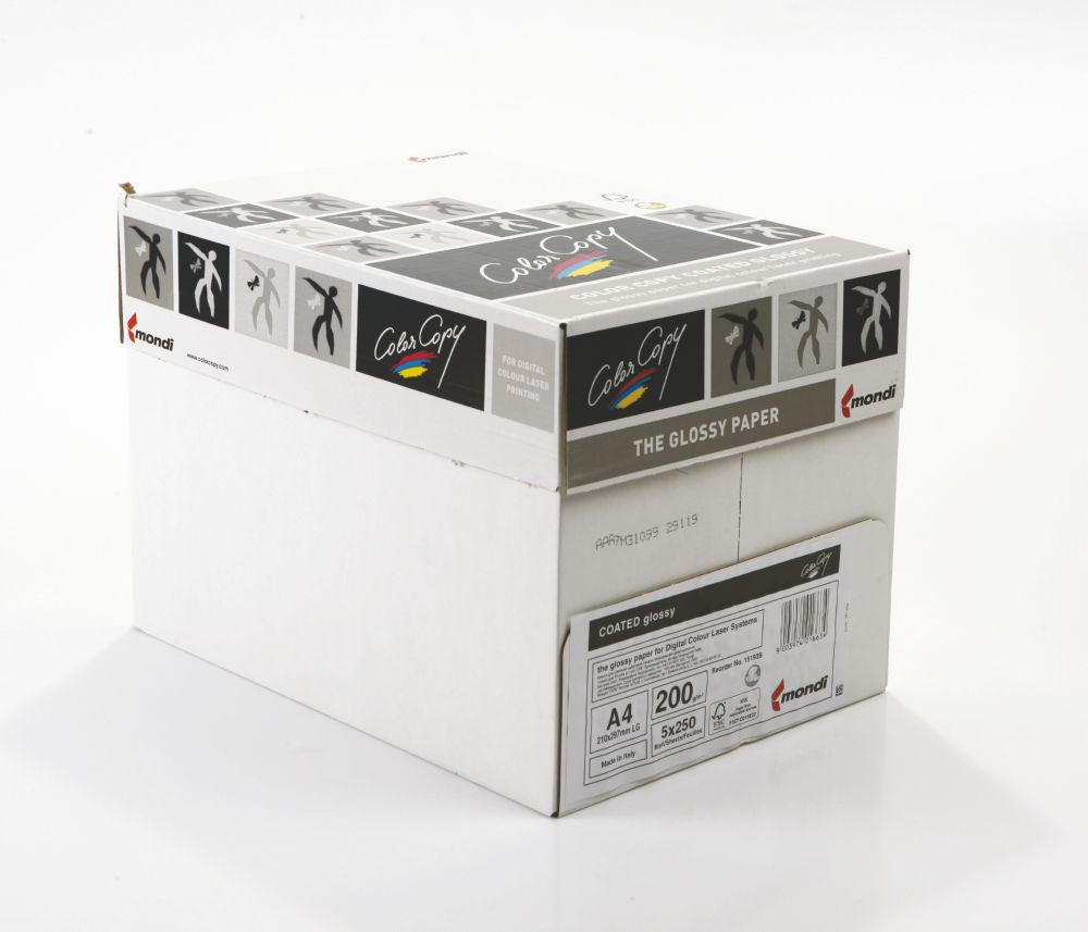 Color Copy Paper Coated Glossy White FSC4 A4 210x 297mm 200gm Pack 250