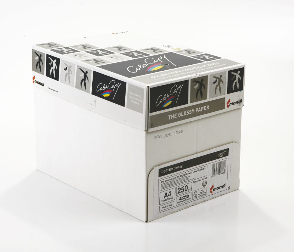 Color Copy Paper Coated Glossy White FSC4 A4 210x 297mm 250gm Pack 250