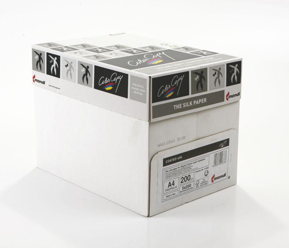Color Copy Paper A4 Coated Silk White FSC4 210x29 97mm 200gm Pack 250